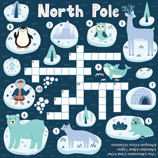 子供のための北極クロスワードゲーム