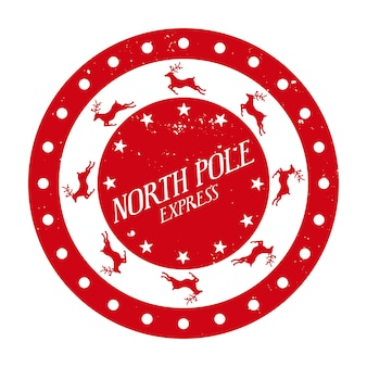 North pole express  round  stamp template for gifts and letters christmas decorative design