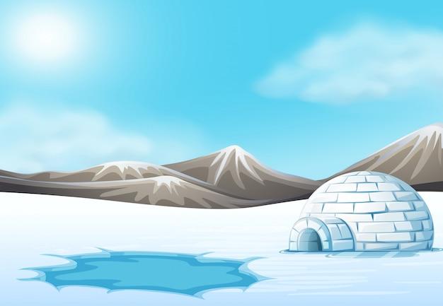North pole and igloo landscape