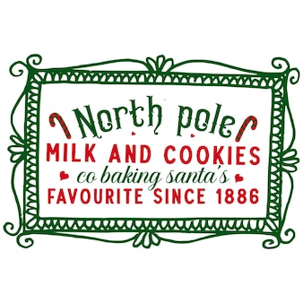 ノースポールミルクとクッキーは、1886年以来お気に入りのサンタを焼くプレミアムベクターデザイン