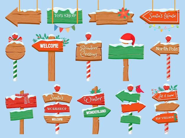 North pole signs. christmas wooden street signboad with snow. arrow signpost direction to santa workshop. winter holiday toy shop vector set