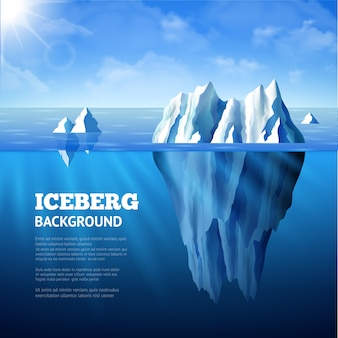 North sea poster with icebergs and sun on blue sky background
