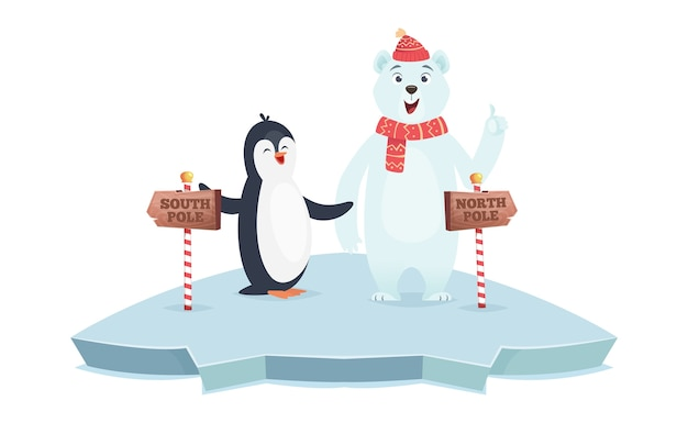 North south pole signs. polar bear and penguin poles vector illustration. cute cartoon animals on ice with wooden road signs. north and south direction message information