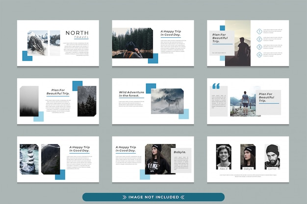 North travel professional presentation template for business travel, travel agency with modern, simple and clean design.