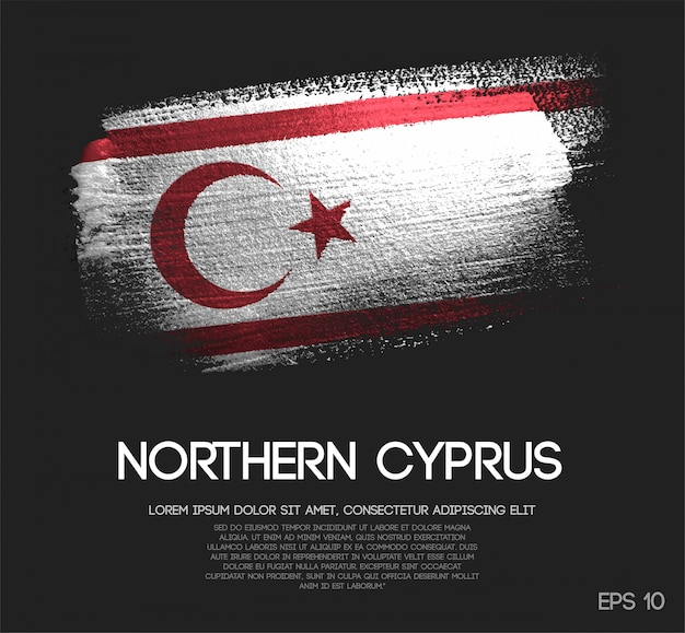 Northern cyprus flag made of glitter sparkle brush paint
