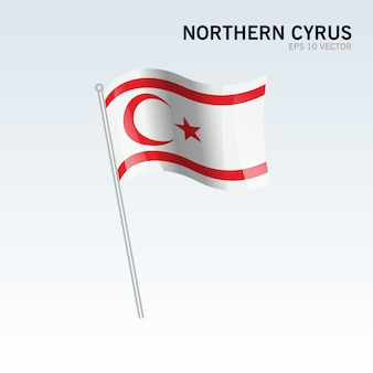 Northern cyprus waving flag isolated on gray background