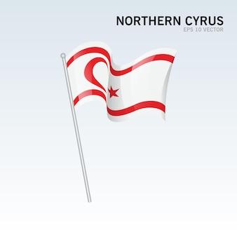 회색에 고립 된 깃발을 흔들며 북부 키프로스