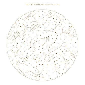 Northern hemisphere sky map in vector featuring constellations