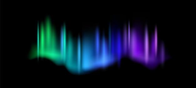 북극광. 오로라 보 리 얼리스 밤하늘에 놀라운 극 조명, 마법의 발광 생생한 북극 효과, 녹색 파란색 및 보라색 그라데이션 극 공간 광택 벡터 추상 현실적인 그림