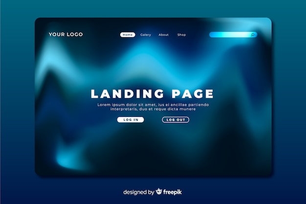 Northern lights blue waves landing page
