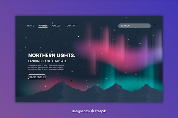 Northern lights colourful landing page