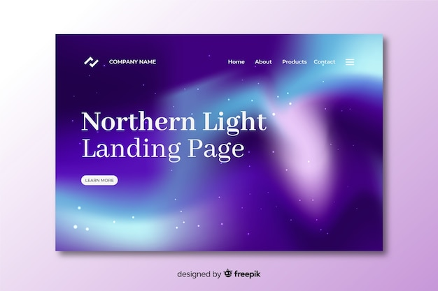 Northern lights in gradient violet landing page