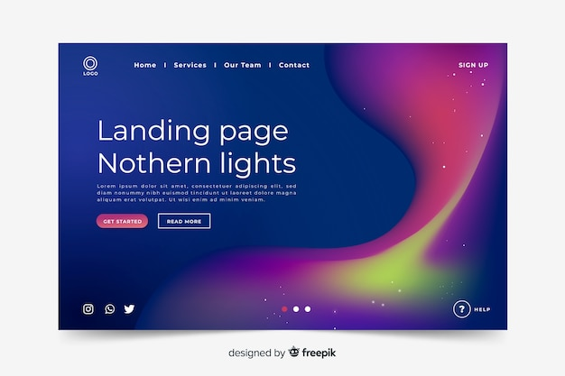 Northern lights landing page template