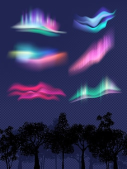 Northern lights. realistic glowing effects in sky weather effects in night vector templates. illustration northern night light, galaxy magical luminescence
