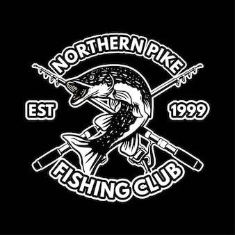 Шаблон черно-белого логотипа северной щуки