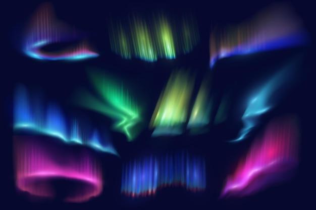 Northern polar lights and aurora borealis glow