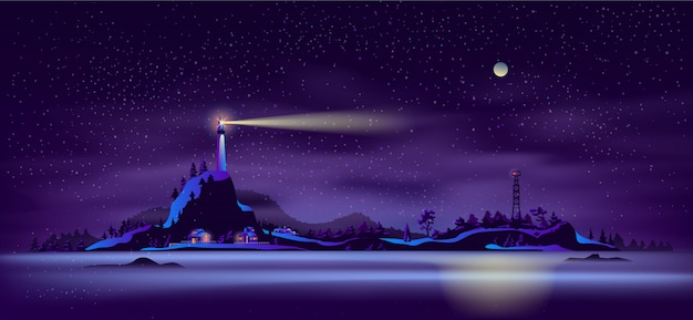 Northern seashore night landscape cartoon vector