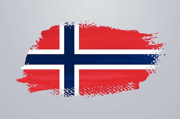 노르웨이 브러시 페인트 플래그 프리미엄 벡터
