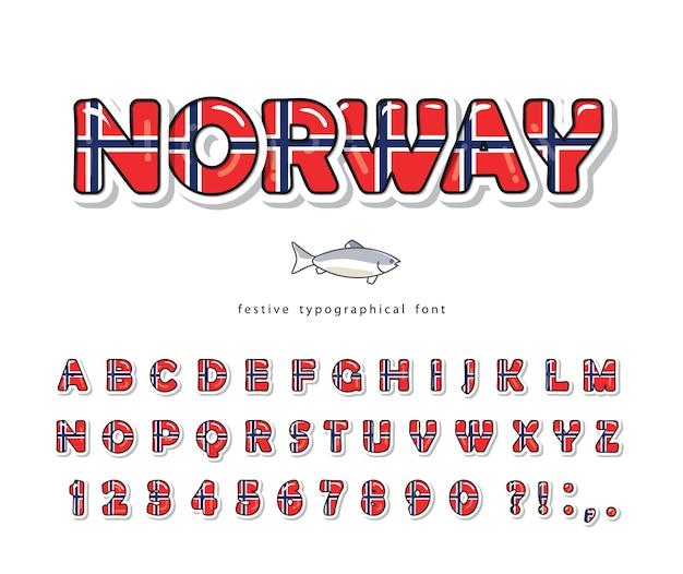 Мультяшный шрифт норвегии. норвежский национальный флаг