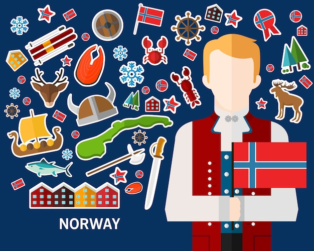 Norway concept background .flat icons