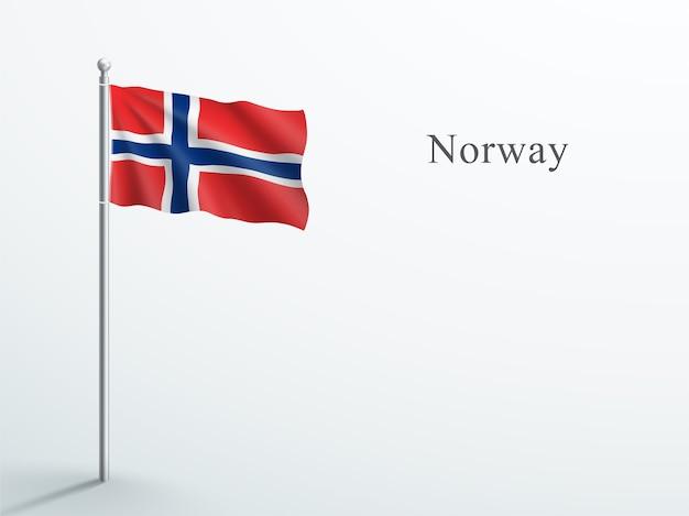 Флаг норвегии 3d элемент развевается на стальном флагштоке