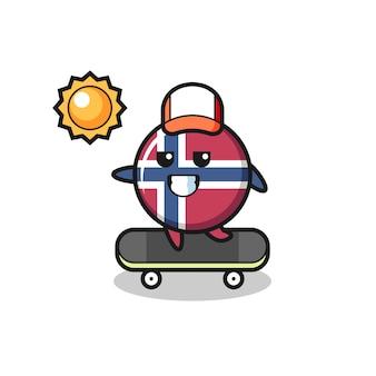 ノルウェーの旗バッジのキャラクターイラストはスケートボードに乗る、tシャツ、ステッカー、ロゴ要素のかわいいスタイルのデザイン