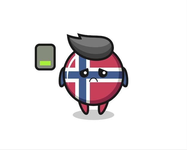 피곤한 몸짓을 하는 노르웨이 국기 배지 마스코트 캐릭터, 티셔츠, 스티커, 로고 요소를 위한 귀여운 스타일 디자인 프리미엄 벡터