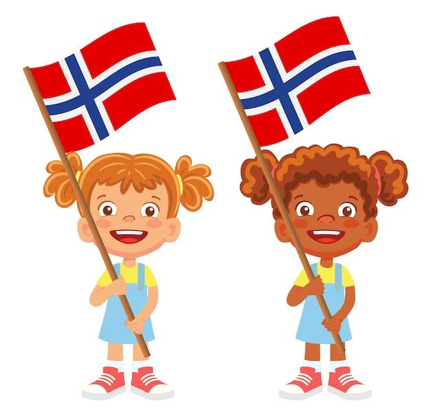노르웨이 깃발을 손에. 깃발을 들고 아이들. 노르웨이 벡터의 국기