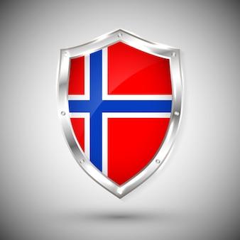 Флаг норвегии на металлическом блестящем щите. коллекция флагов на щите на белом фоне. абстрактный изолированный объект.