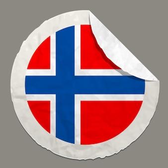 종이 라벨에 노르웨이 국기 기호