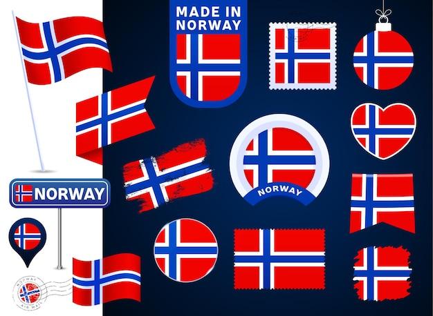 노르웨이 국기 벡터 컬렉션입니다. 평평한 스타일의 공휴일과 공휴일을 위한 다양한 모양의 국기 디자인 요소의 큰 집합입니다. 소인, 만든, 사랑, 원, 도로 표지판, 파