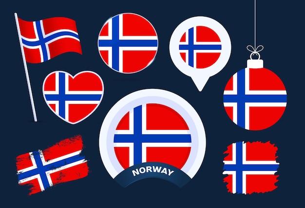 노르웨이 국기 벡터 컬렉션입니다. 평평한 스타일의 공휴일과 공휴일을 위한 다양한 모양의 국기 디자인 요소의 큰 집합입니다.