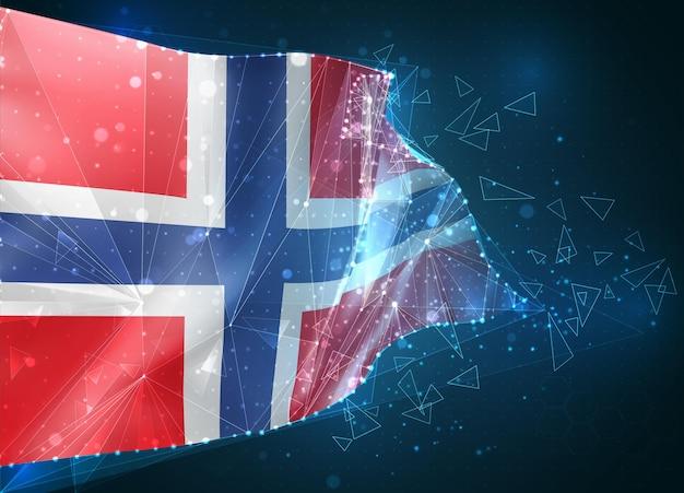 노르웨이, 플래그, 파란색 배경에 삼각형 폴리곤에서 가상 추상 3d 개체