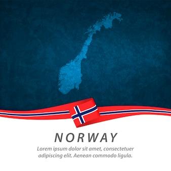 중앙지도와 파란색 배경 노르웨이 깃발