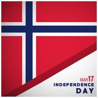 Norway flag with independence day