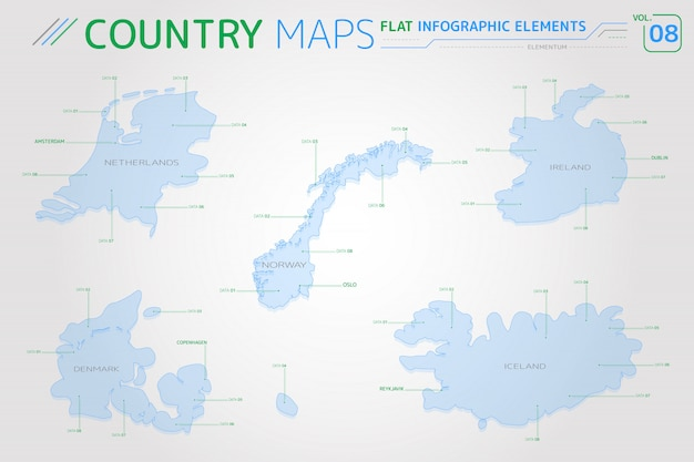 Norway, iceland, ireland, netherlands and denmark vector maps