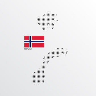 Norway map design with flag and light background vector