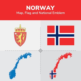 Norway map, flag and national emblem