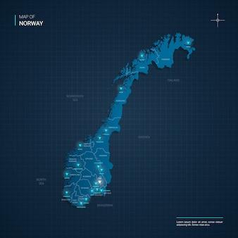 블루 네온 빛 포인트와 노르웨이지도