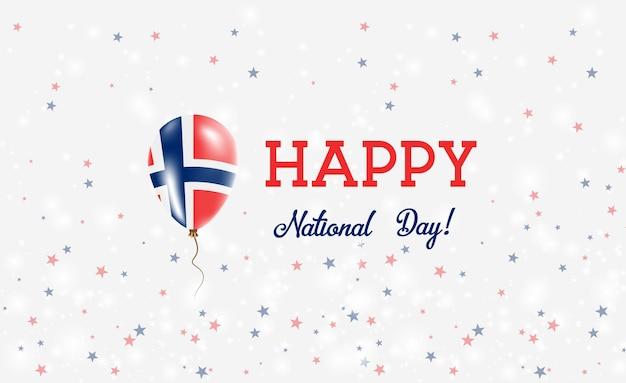 ノルウェー建国記念日愛国ポスター。ノルウェー国旗の色の空飛ぶゴム風船。バルーン、紙吹雪、星、ボケ、輝きのあるノルウェー建国記念日の背景。