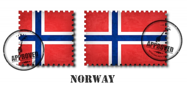 Norway or norwegian flag pattern postage stamp
