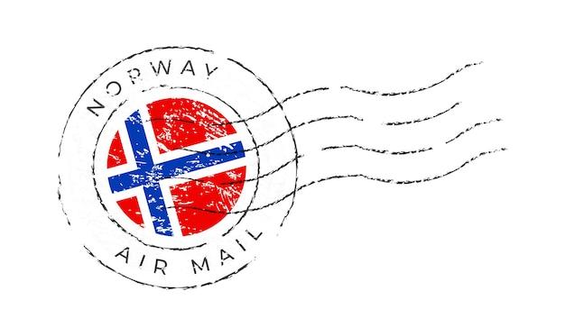 노르웨이 우표. 국기 우표 흰색 배경 벡터 일러스트 레이 션에 고립입니다. 공식 국가 국기 패턴과 국가 이름이 있는 스탬프 프리미엄 벡터