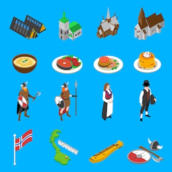Norway touristic attractions isometric icons collection