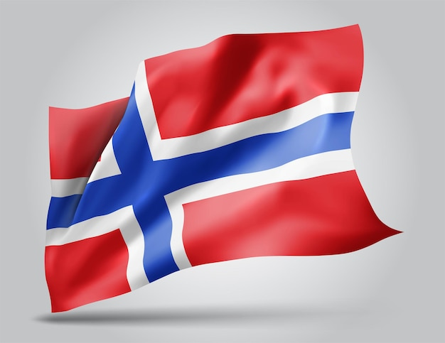 노르웨이, 흰색 배경에 고립 된 벡터 3d 플래그