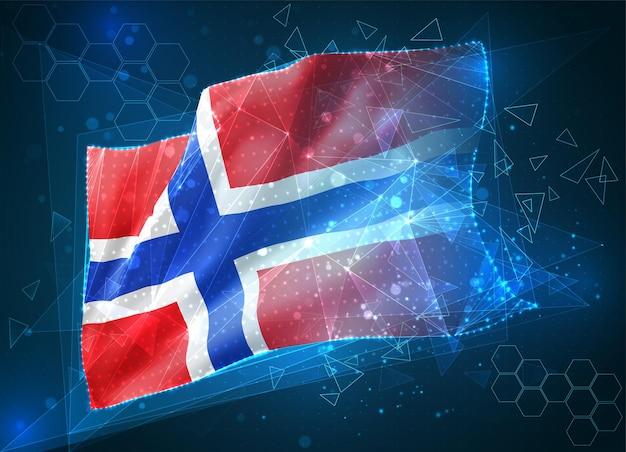 노르웨이, 벡터 플래그, 파란색 배경에 삼각형 다각형에서 가상 추상 3d 개체