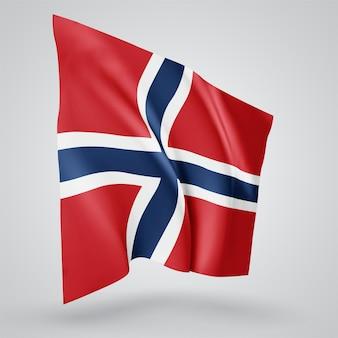 노르웨이, 파도가 있는 벡터 깃발과 흰색 배경에 바람에 물결치는 굽힘.