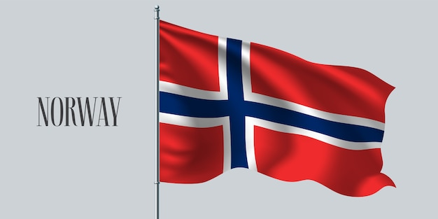 노르웨이 깃대에 깃발을 흔들며