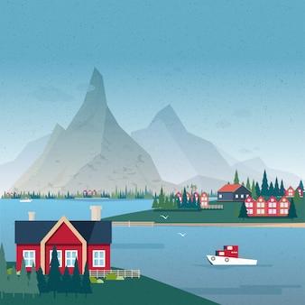 노르웨이 풍경 파노라마. 건물 및 보트 베이보기입니다. 다채로운 그림.