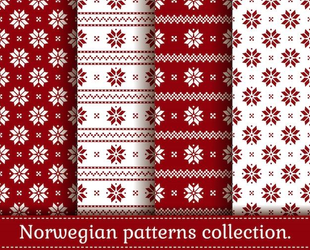 Norwegian seamless patterns. set.
