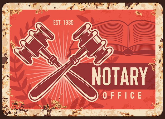 Notary office metal rusty plate, lawyer legal firm